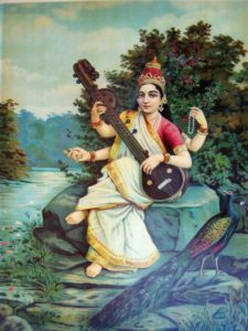 Saraswati goddess of knowledge, language, music. India's devadasi culture auspicious empowered women